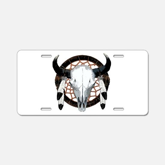 Buffalo skull dream catcher Aluminum License Plate