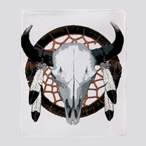 Buffalo skull dream catcher Throw Blanket