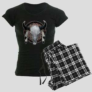 Buffalo skull dream catcher Women's Dark Pajamas