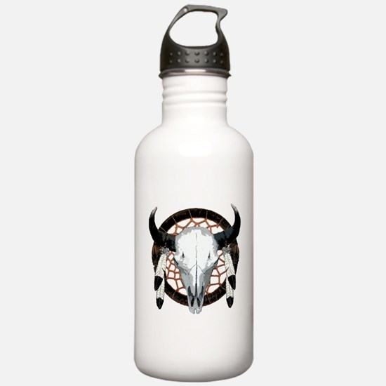 Buffalo skull dream catcher Water Bottle