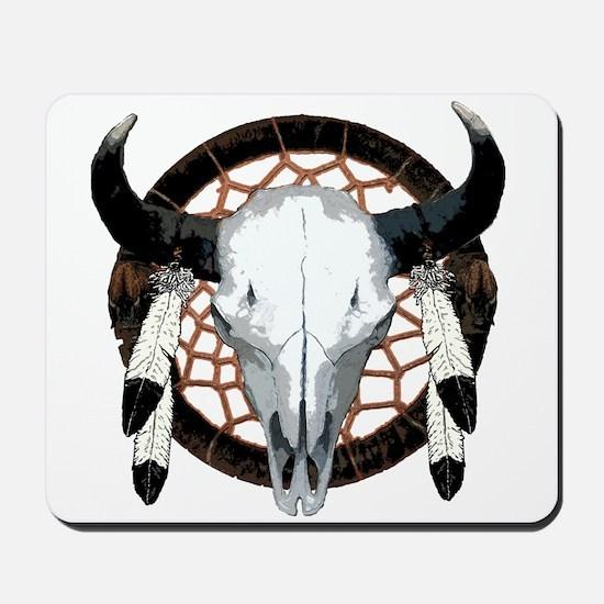 Buffalo skull dream catcher Mousepad