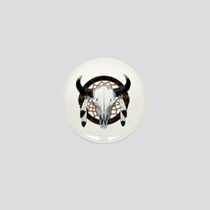 Buffalo skull dream catcher Mini Button