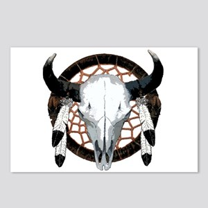 Buffalo skull dream catcher Postcards (Package of
