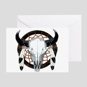 Buffalo skull dream catcher Greeting Card
