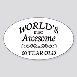 Awesome 90 Year Old Sticker (Oval)