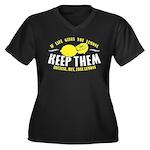 Free Lemons Women's Plus Size V-Neck Dark T-Shirt