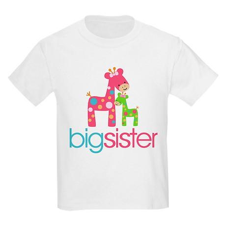 603446586 CafePress Giraffe Big Sister Kids Light T Shirt Kids Light T-Shirt