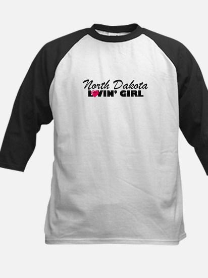 North Dakota Loving girl Kids Baseball Jersey