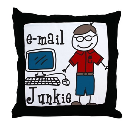 E-Mail Junkie Throw Pillow