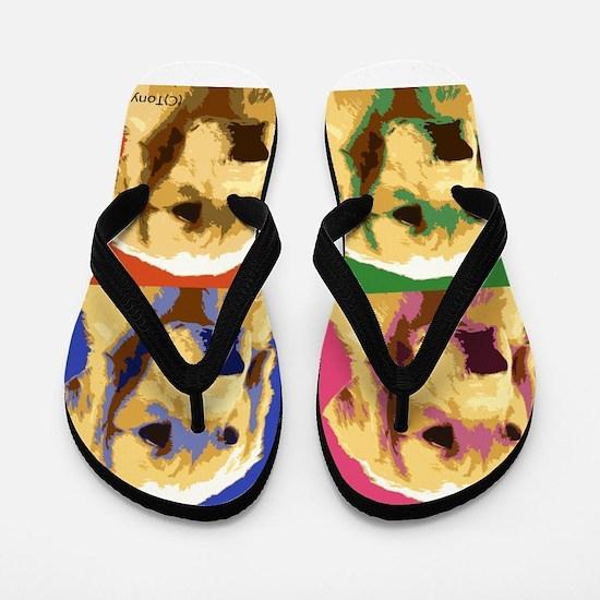 Golden Retriever Pop Art Flip Flops