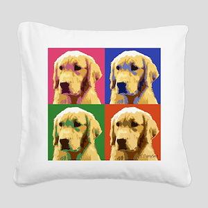 Golden Retriever Pop Art Square Canvas Pillow