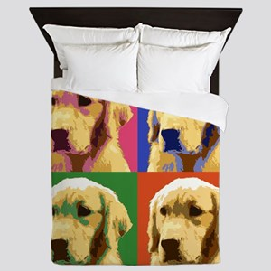 Golden Retriever Pop Art Queen Duvet