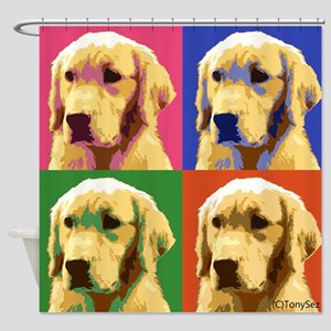 Golden Retriever Pop Art Shower Curtain