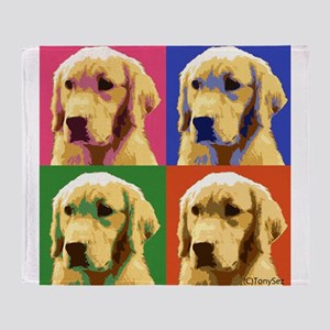 Golden Retriever Pop Art Throw Blanket