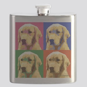 Golden Retriever Pop Art Flask