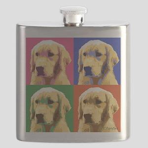 Golden Retriever Pop Art Flask
