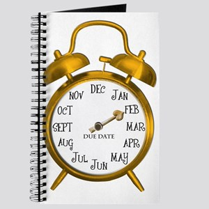 Due in February Gold Alarm Clock Maternity Journal