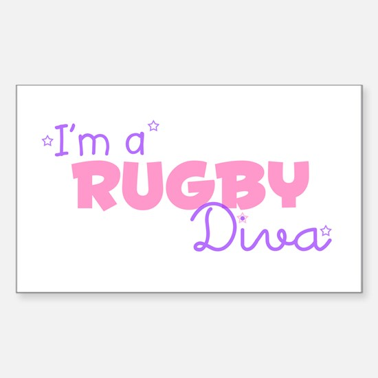 I'm a Rugby diva Rectangle Decal