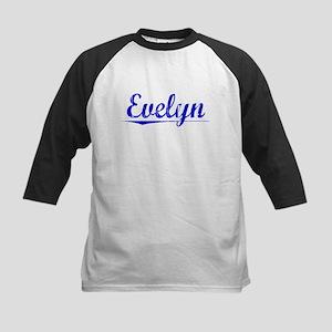 Evelyn, Blue, Aged Kids Baseball Jersey