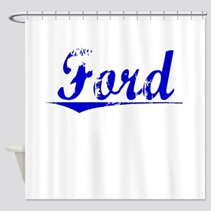 Crawford, Blue, Aged Shower Curtain