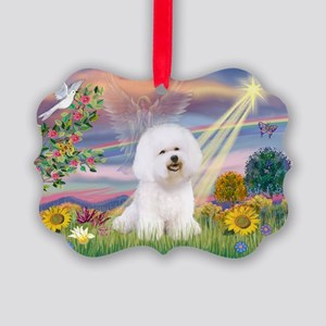 Cloud Angel & Bichon Picture Ornament