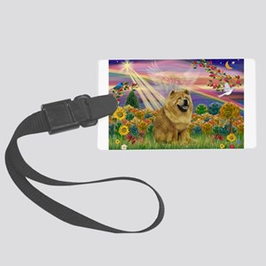 Autumn Angel & Chow Large Luggage Tag