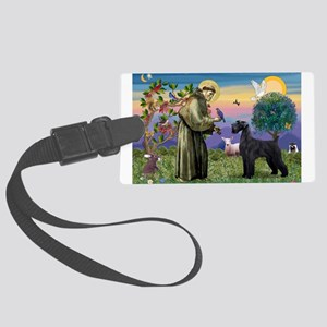 St Francis /G Schnauzer(blk) Large Luggage Tag