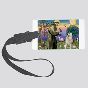 St Francis / Great Pyrenees Large Luggage Tag