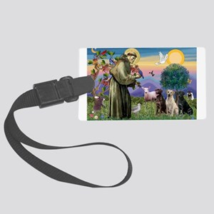 St Francis & Lab Trio Large Luggage Tag