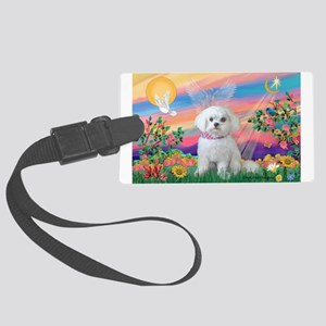 Guardian Angel / Maltese pup Large Luggage Tag