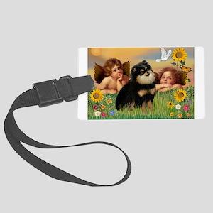 Cherubs /Pomeranian (b&t) Large Luggage Tag