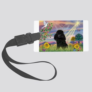 Cloud Angel / Poodle (blk#2) Large Luggage Tag
