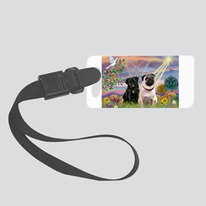 Cloud Angel & 2 Pugs Small Luggage Tag