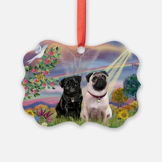 Cloud Angel & 2 Pugs Ornament