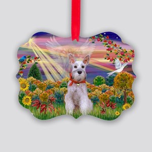 Autumn Angel Schnauzer Picture Ornament