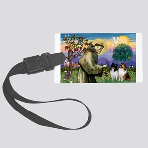 St Francis / Sheltie pair Large Luggage Tag