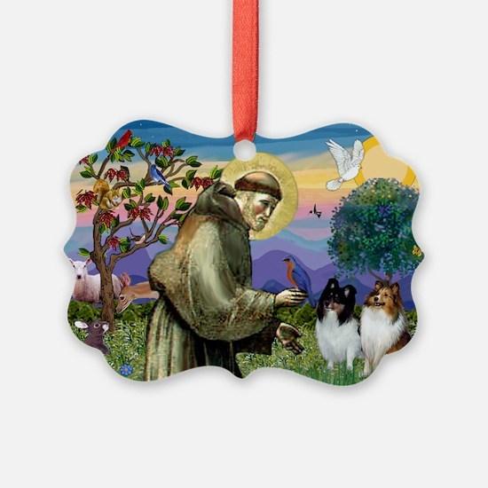 St Francis / Sheltie pair Ornament