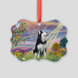 Cloud Angel / Siberian Husky Picture Ornament