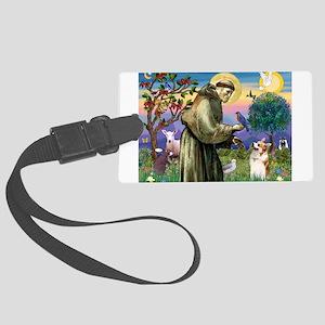 St Francis / Welsh Corgi (p) Large Luggage Tag