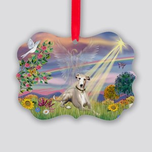 Cloud Angel & Whippet Picture Ornament