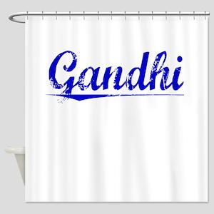 Gandhi, Blue, Aged Shower Curtain