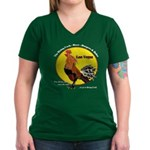Las Vegas Rising Cock Women's V-Neck Dark T-Shirt