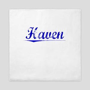 Haven, Blue, Aged Queen Duvet