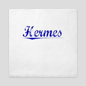Hermes, Blue, Aged Queen Duvet