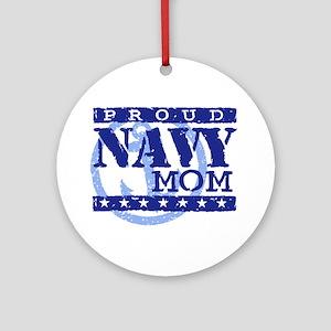 Proud Navy Mom Ornament (Round)