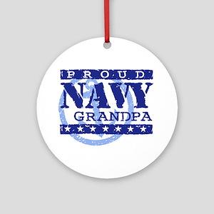 Proud Navy Grandpa Ornament (Round)