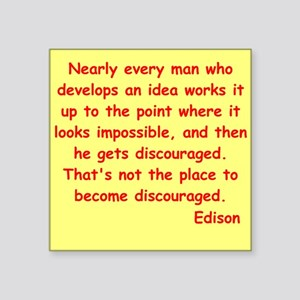 "edison9 Square Sticker 3"" x 3"""