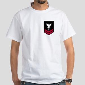 Navy BM2<BR> White T-Shirt