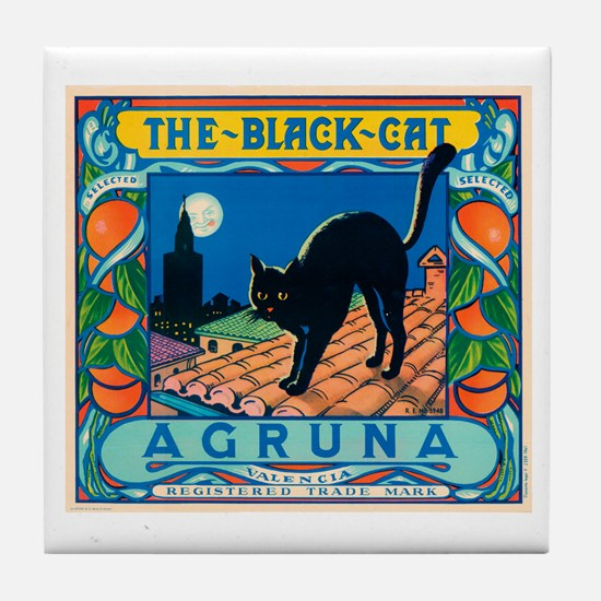 Black Cat Oranges Tile Coaster