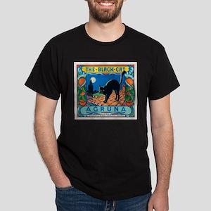 Black Cat Oranges Black T-Shirt